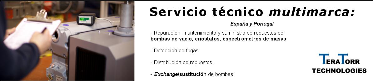 Servicio técnico, reparación, mantenimiento y suministro de repuesto para bombas de vacío, criostatos y espectrómetros de masas
